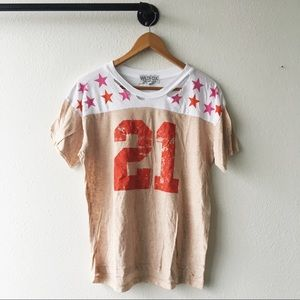 Wildfox Tops - Wildfox Ripped Tee No. 21 Stars Graphic Crew Neck